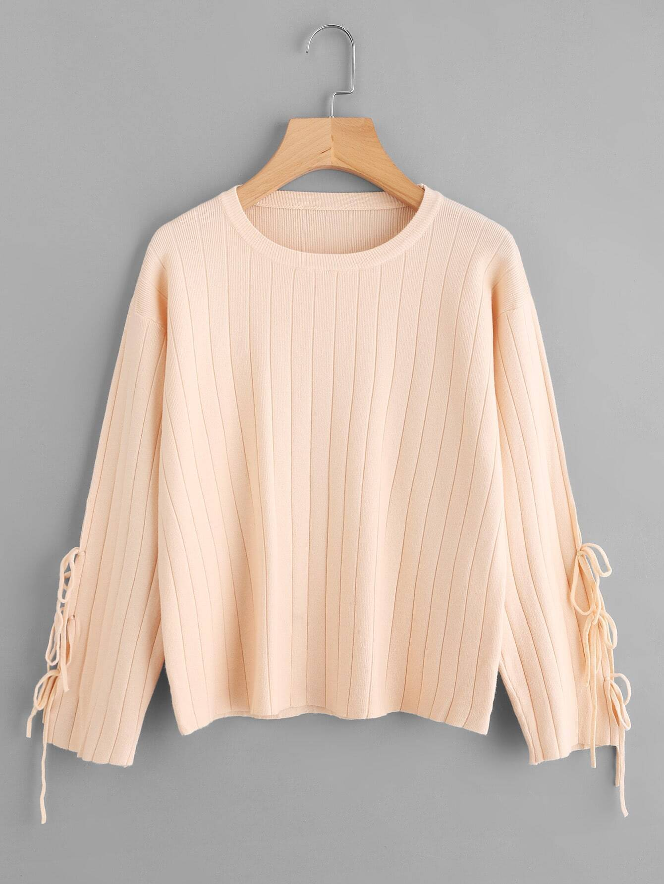 Lace Up Sleeve Ribbed Sweater rkni171011174