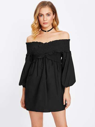 Shirred Detail Cross Bardot Dress