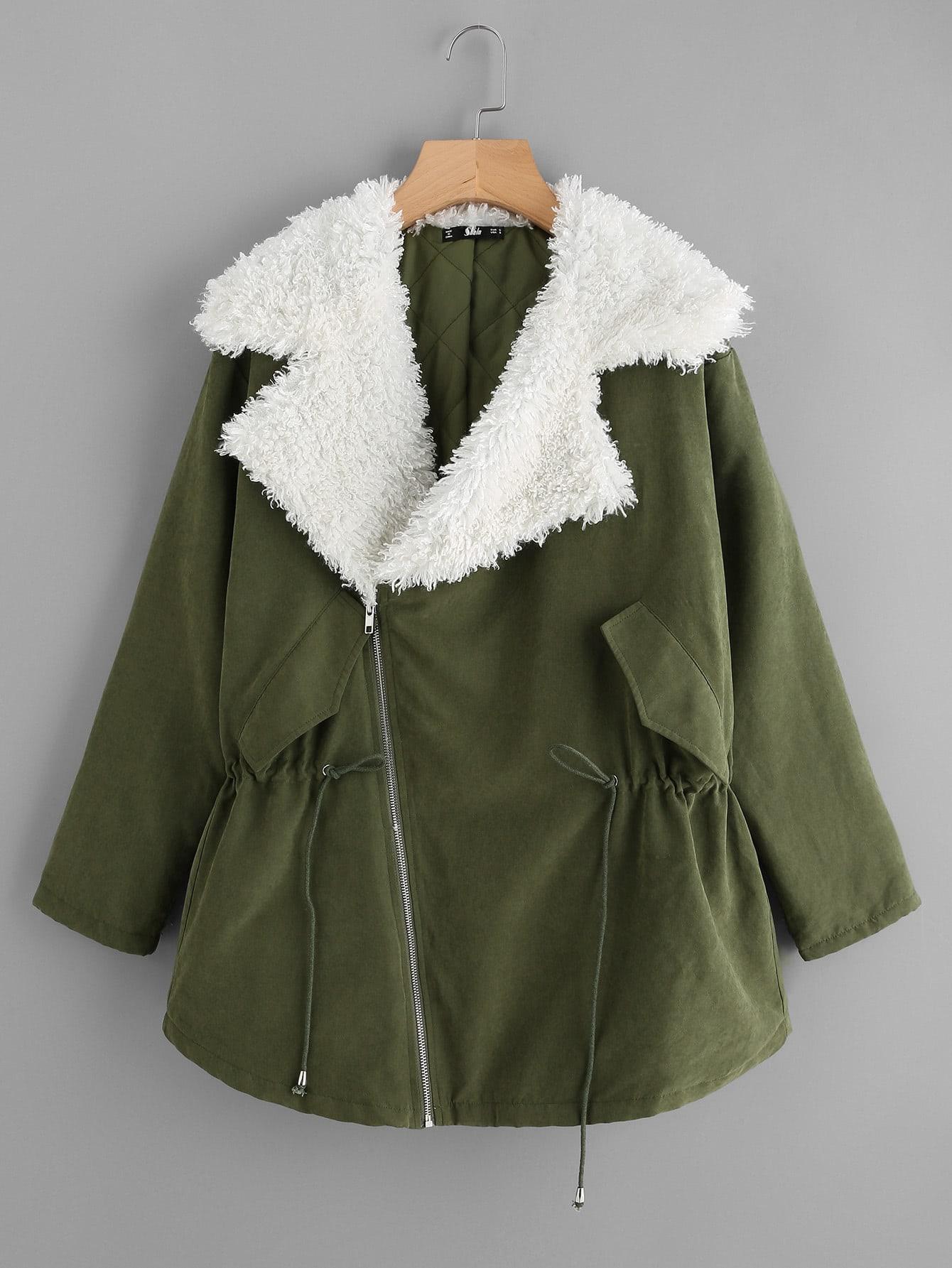 Sherpa Lined Notch Collar Parka Coat faux fur lined parka coat