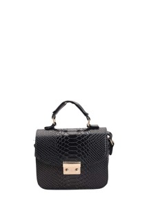 Snakeskin Pattern PU Flap Lock Crossbody Bag