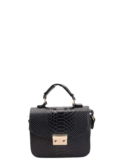 Snakeskin Pattern PU Flap Lock Crossbody Bag