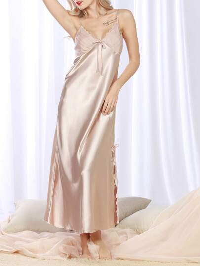 Satin Slit Hem Cami Night Dress