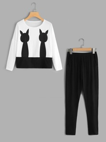 Cat Print Top And Pants Pajama Set