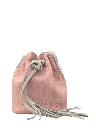 Fringe Drawstring Bucket Bag With Clutch