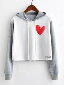 Contrast Sleeve Heart Print Hoodie