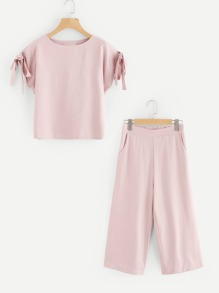 Self Tie Sleeve Top And Pants