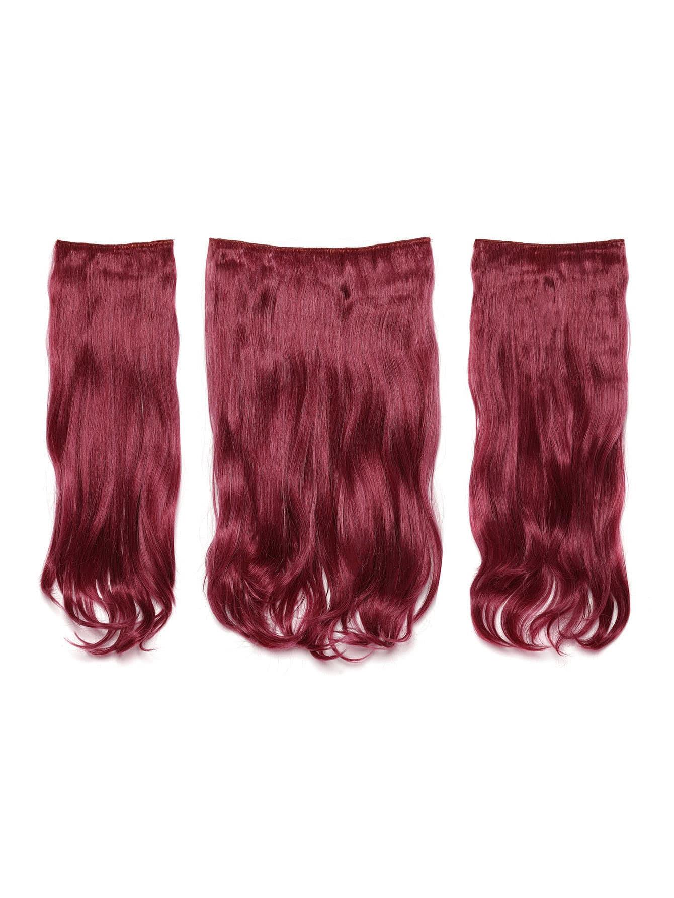 Купить Бордовые модные искусственные волосы с заколкой 3 шт., null, SheIn