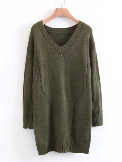V Cut Longline Jumper Sweater
