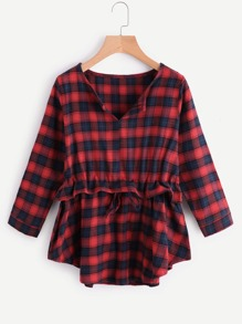 Drawstring Waist Tartan Plaid Frill Blouse