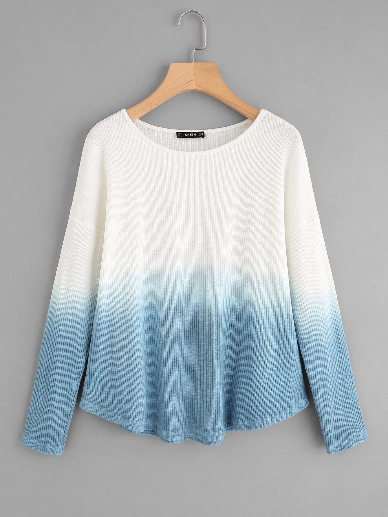 Rib Knit Curved Hem Ombre T-shirt cutout front rib knit t shirt