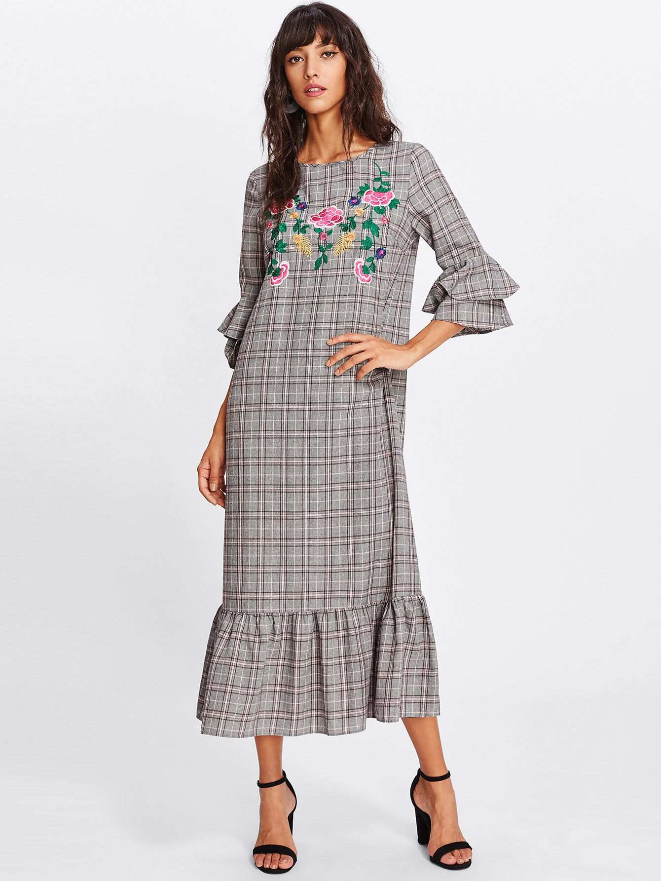Frilled Sleeve And Hem Embroidered Plaid Dress frilled bell sleeve and hem open front blazer