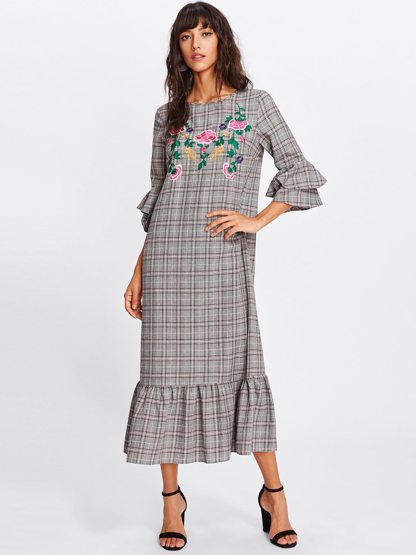 Frilled Sleeve And Hem Embroidered Plaid Dress