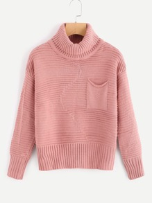 Pocket Front High Neck Sweater