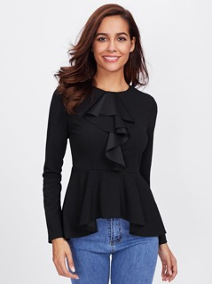 Flounce Front High Low Peplum Top