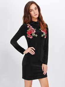 Symmetric Rose Patch Velvet Dress