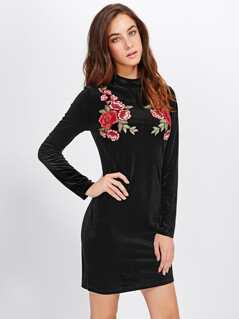 Symmetric Rose Patch Velvet Dress