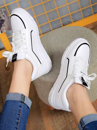 Romwe / Lace Up Low Top PU Sneakers