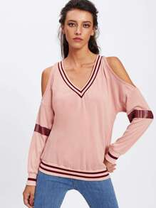 Open Shoulder Striped Trim Top