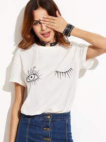 White Wink Eyes Print Drop Shoulder T-shirt