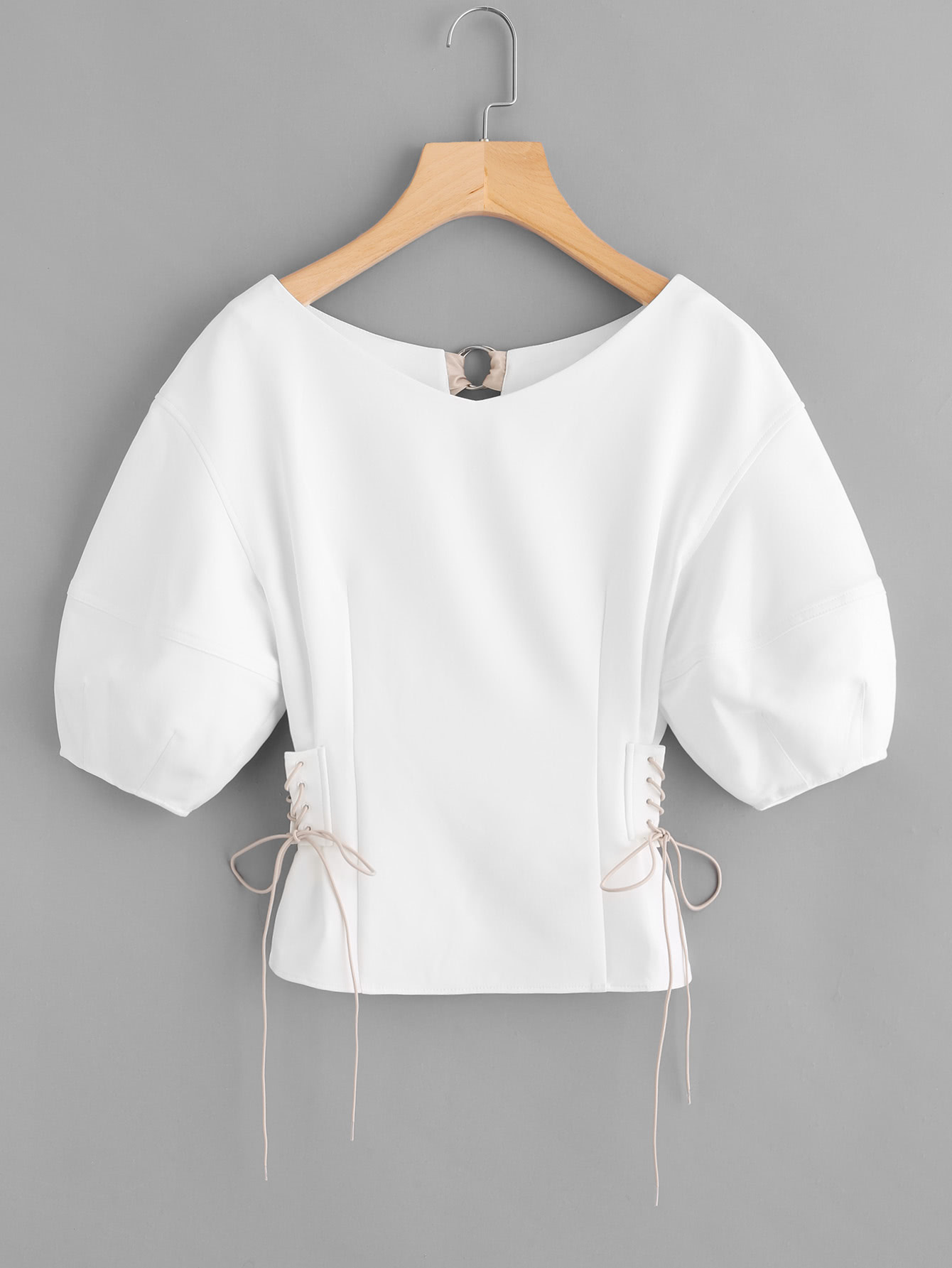 Lace Up Side O-Ring Back Bishop Sleeve Top side lace up long sleeve knitwear