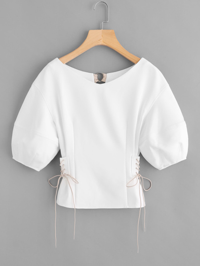 Lace Up Side O-Ring Back Bishop Sleeve Top