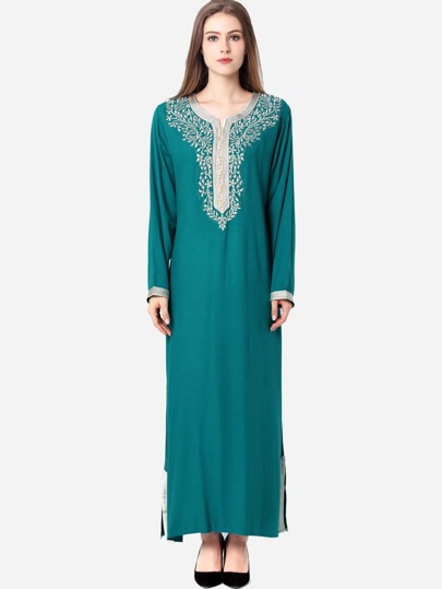 Contrast Trim Embroidered Slit Hem Long Hijab Dress