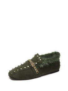 Studded Chain Detail Flat Mules With Faux Fur