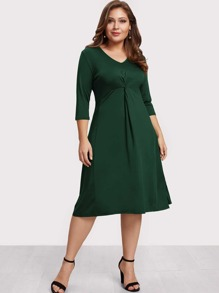 V Neckline Twist Dress