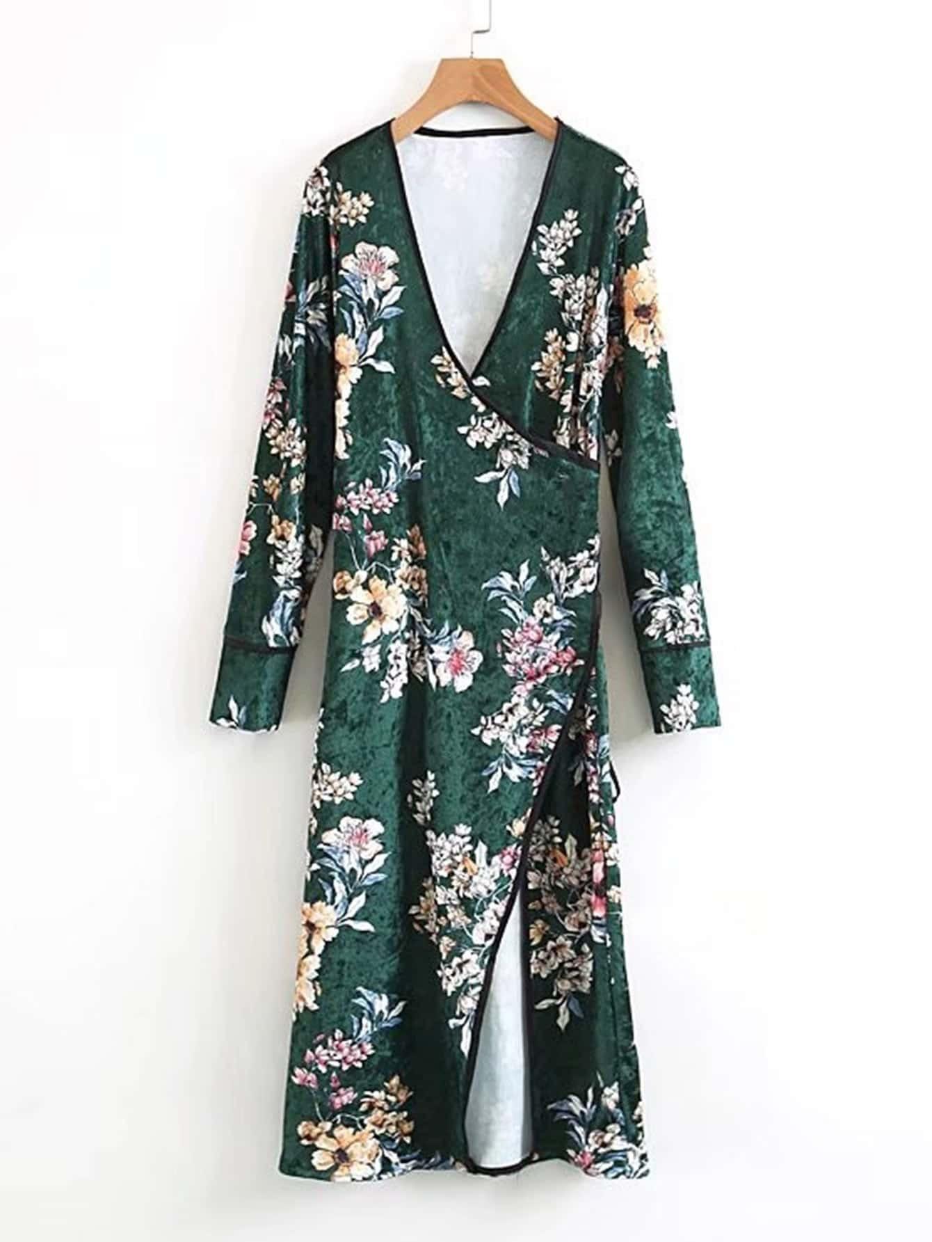 Surplice Neckline Self Tie Velvet Floral Kimono  цена и фото