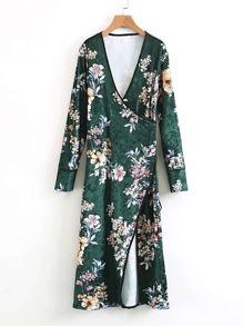 Surplice Neckline Self Tie Velvet Floral Kimono