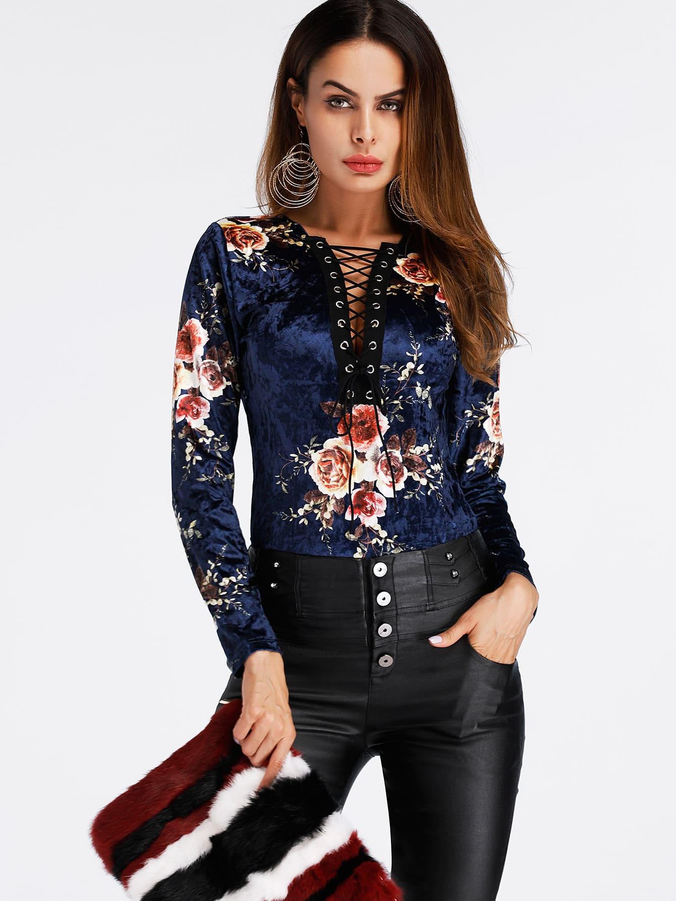 Flower Print Lace Up Front Velvet Bodysuit lace up front fit