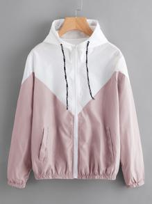 Color Block Drawstring Hooded Zip Up Jacket