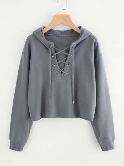 Drop Shoulder Eyelet Lace Up Sweatshirt