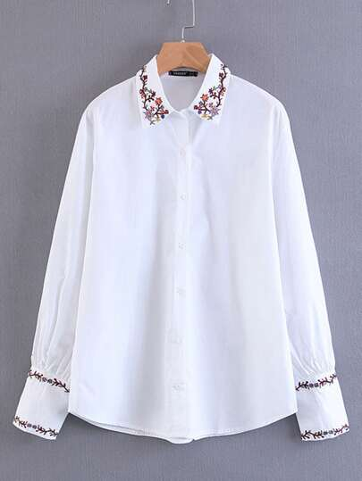 Flower Embroidered Trim Blouse