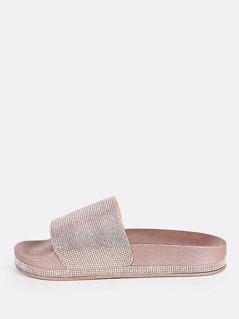 Diamond Encrusted Slides ROSE GOLD