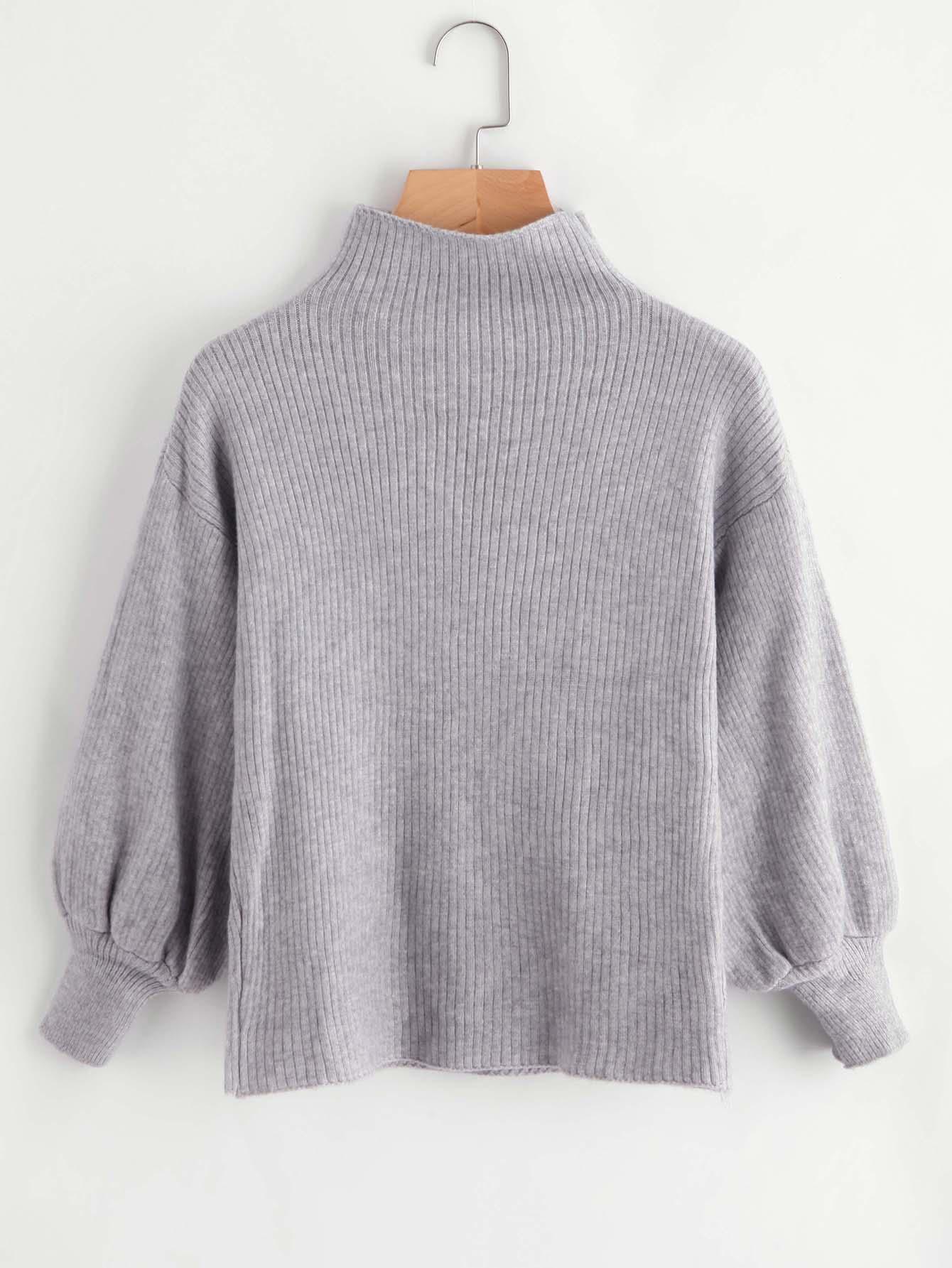 Drop Shoulder Lantern Sleeve Ribbed Sweater rkni171012151