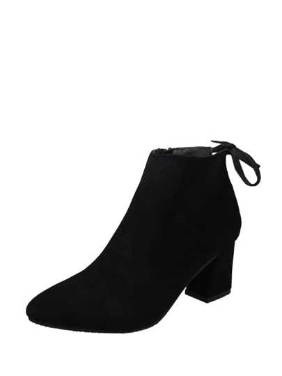 Block Heeled Side Zipper Bow Detail Ankle Boots