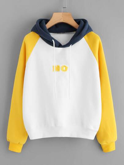 Color Block Raglan Slogan Embroidered Hooded Sweatshirt