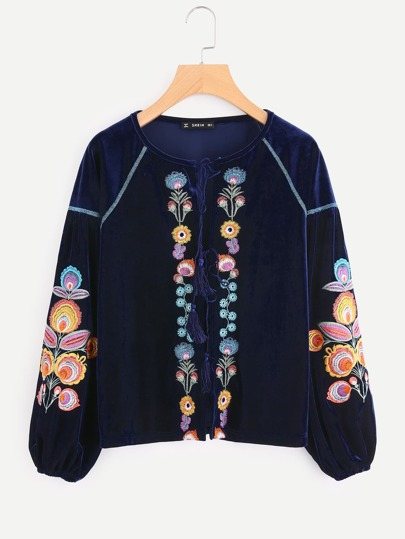 Tassel Tie Flower Embroidered Velvet Blouse