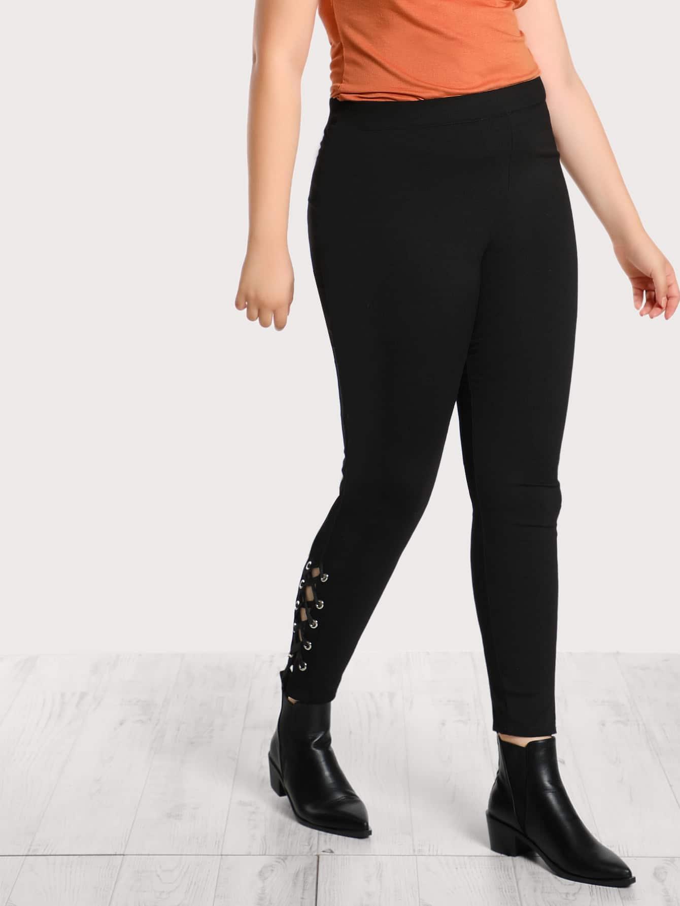 Image of Grommet Lace Up Hem Pants