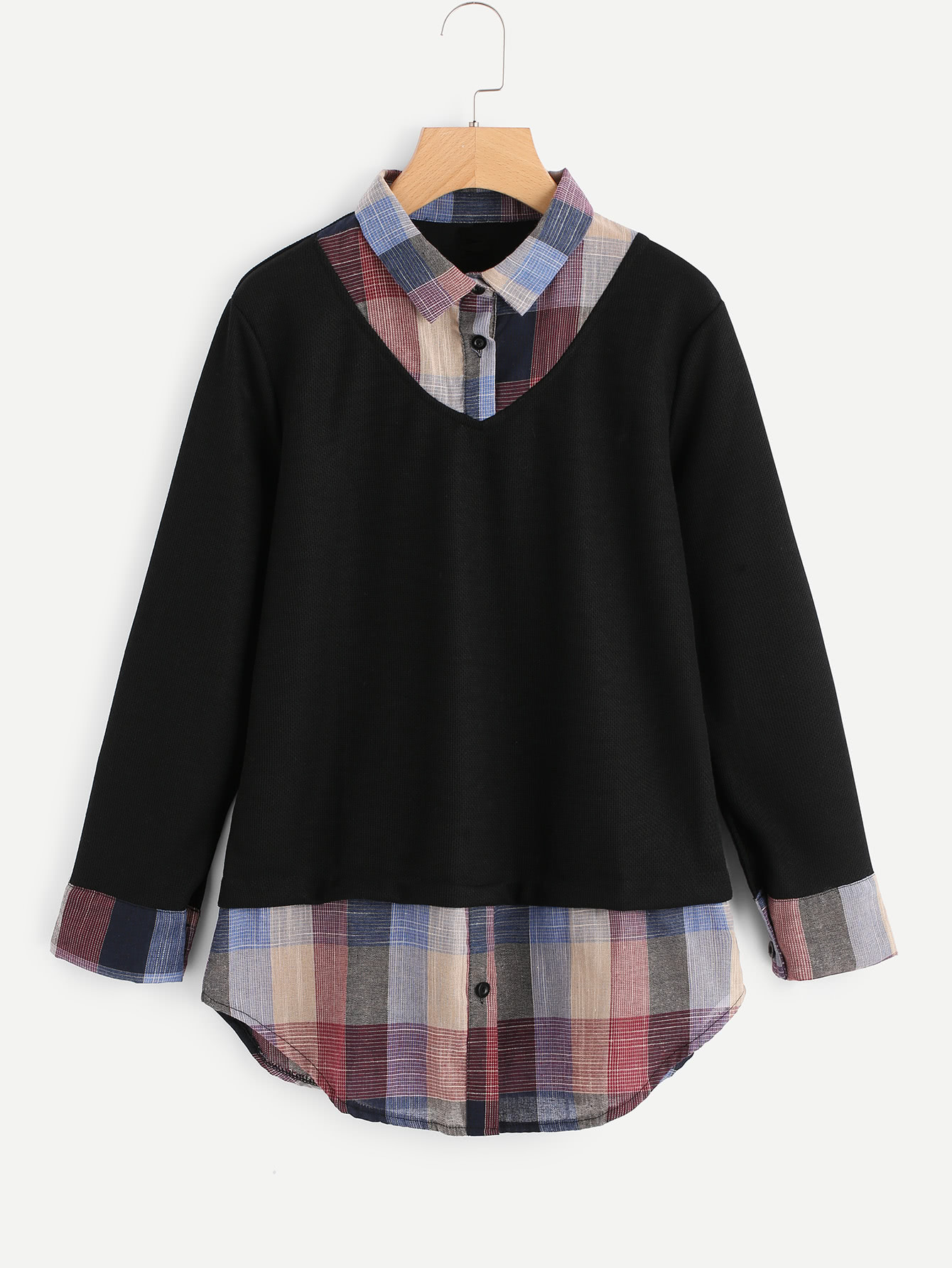 Image of 2 In 1 Plaid Contrast Blouse