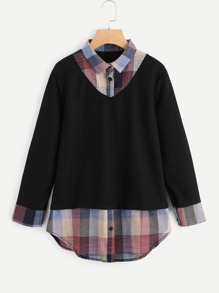 2 In 1 Plaid Contrast Blouse