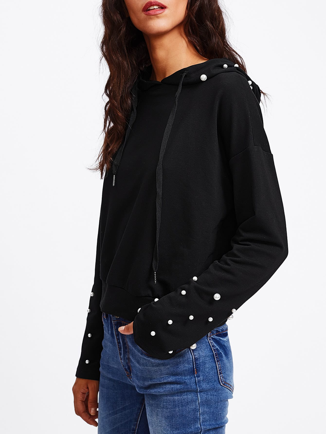 Drop Shoulder Pearl Embellished Hoodie