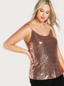 Spaghetti Strap Sequin Top ROSE GOLD