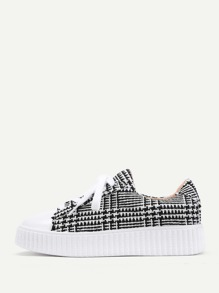 Gingham Pattern Lace Up Sneakers