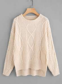Dip Hem Mixed Knit Sweater