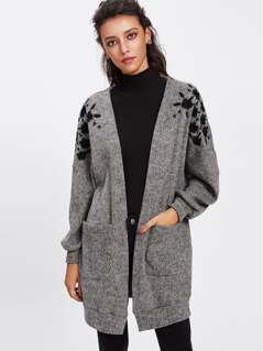Embroidered Drop Shoulder Open Front Cardigan