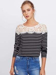 Eyelash Lace Yoke Striped Tee