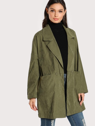 Notch Collar Drop Shoulder Dual Pocket Coat