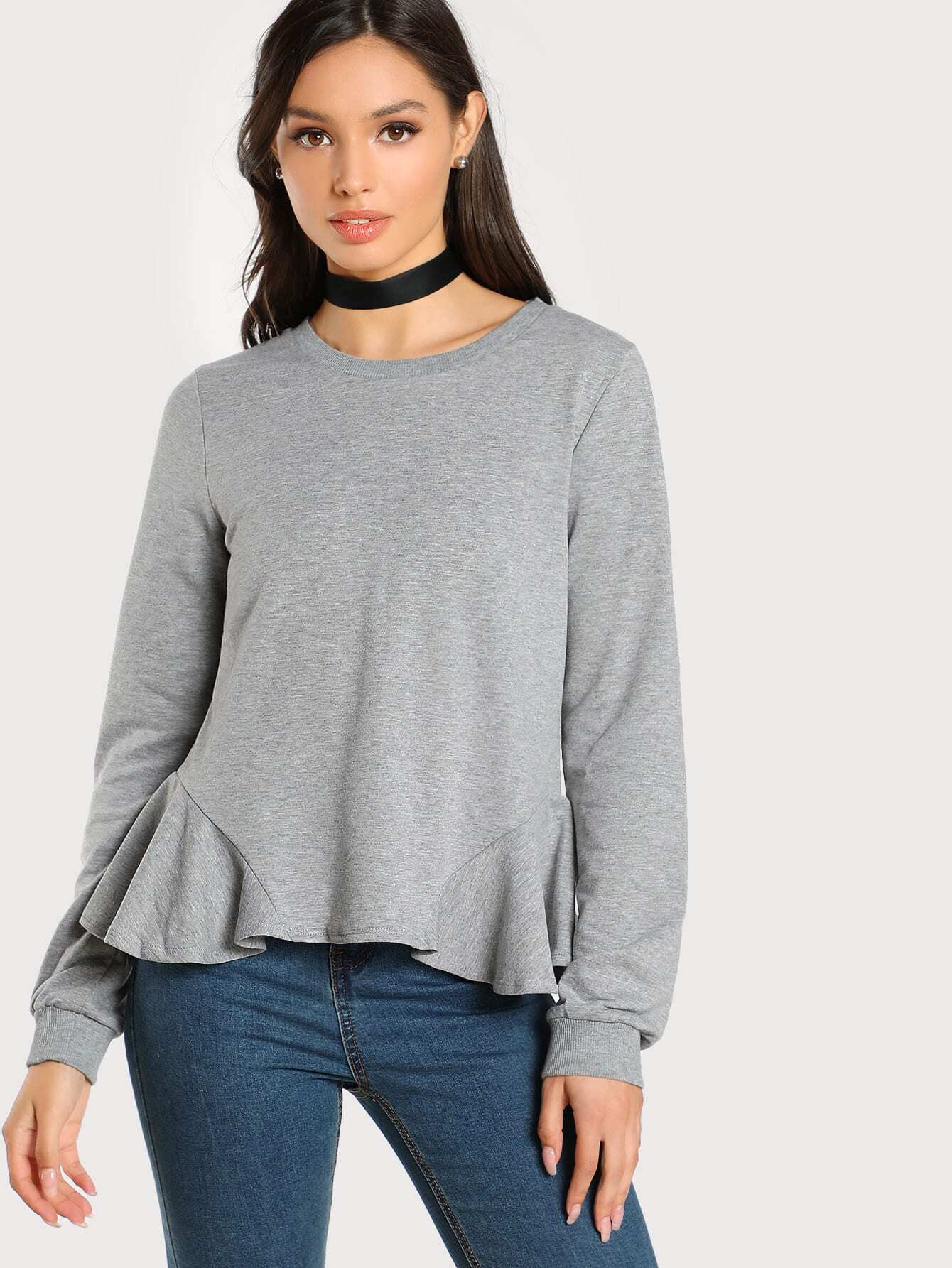 цена на Ruffle Hem Heather Knit Pullover